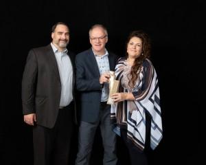 François Gaulin, lauréat, Olivier Boudreau, Hydro-Québec et Nathalie Miousse, lauréate