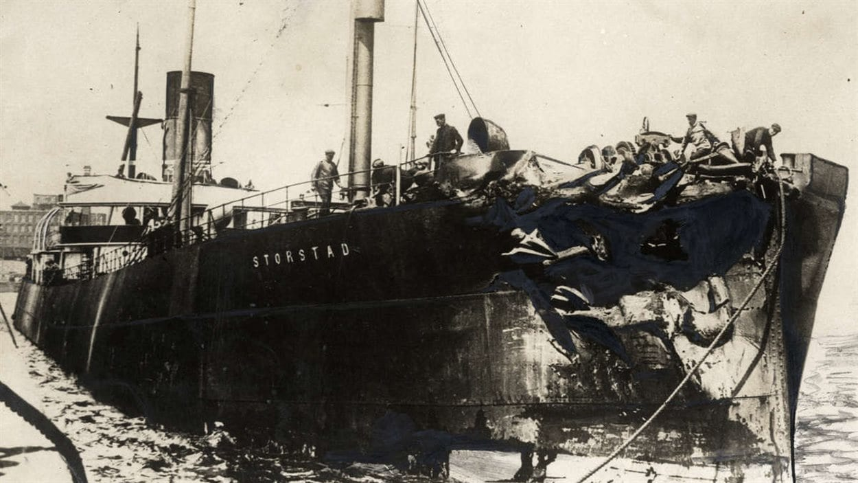 Le Storstad après sa collision avec l'Empress of Ireland   Photo : W5.montreal.com