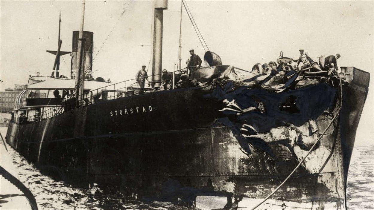 Le Storstad après sa collision avec l'Empress of IrelandPhoto : W5.montreal.com