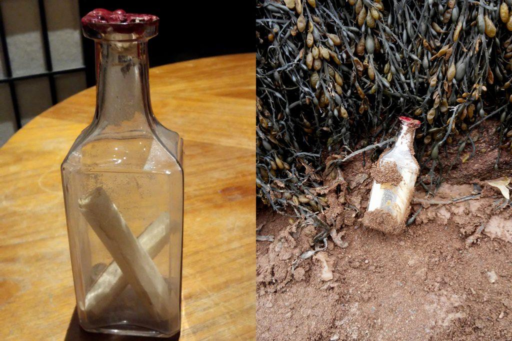 La lettre a été séparée en deux rouleaux et placée dans une bouteille scellée à la cire. - Archives